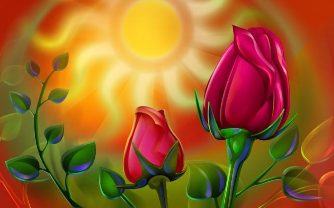 veggie-draw-rose-shrooms-desktop-free-wallpaper