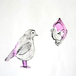 bird mirror painting